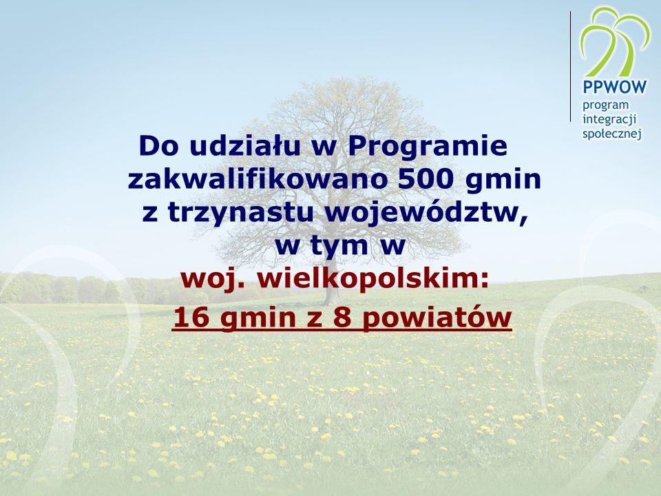Do udziału w Programie zakwalifikowano 500 gmin z trzynastu województw, w tym w woj. wielkopolskim: 16 gmin z 8 powiatów