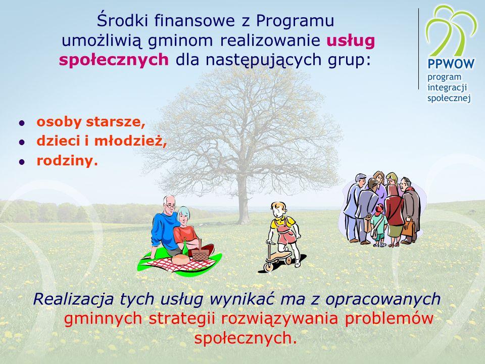 Środki finansowe z Programu umożliwią gminom realizowanie usług społecznych dla następujących grup: osoby starsze, dzieci i młodzież, rodziny. Realiza