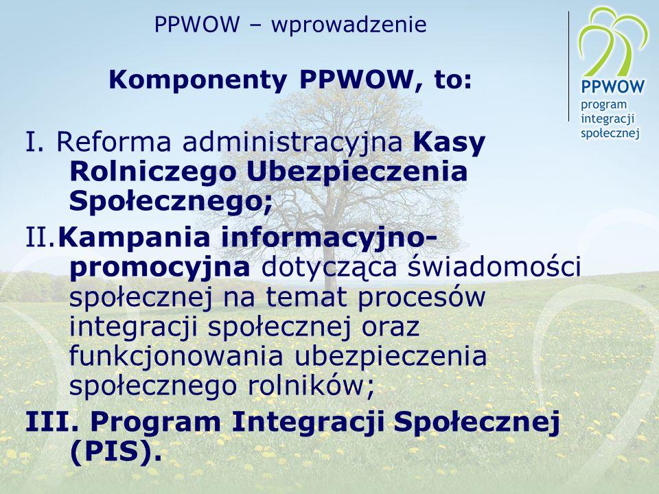 PPWOW – wprowadzenie Komponenty PPWOW, to: I. Reforma administracyjna Kasy Rolniczego Ubezpieczenia Społecznego; II.Kampania informacyjno- promocyjna