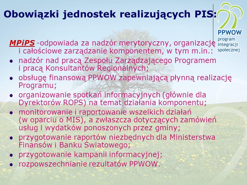 Obowiązki jednostek realizujących PIS: MPiPS -odpowiada za nadzór merytoryczny, organizację i całościowe zarządzanie komponentem, w tym m.in.: nadzór nad pracą Zespołu Zarządzającego Programem i pracą Konsultantów Regionalnych; obsługę finansową PPWOW zapewniającą płynną realizację Programu; organizowanie spotkań informacyjnych (głównie dla Dyrektorów ROPS) na temat działania komponentu; monitorowanie i raportowanie wszelkich działań (w oparciu o MIS), a zwłaszcza dotyczących zamówień usług i wydatków ponoszonych przez gminy; przygotowanie raportów niezbędnych dla Ministerstwa Finansów i Banku Światowego; przygotowanie kampanii informacyjnej; rozpowszechnianie rezultatów PPWOW.