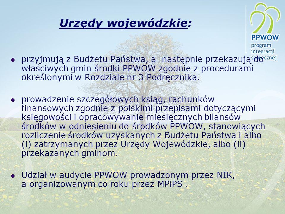 Urzędy wojewódzkie: przyjmują z Budżetu Państwa, a następnie przekazują do właściwych gmin środki PPWOW zgodnie z procedurami określonymi w Rozdziale nr 3 Podręcznika.