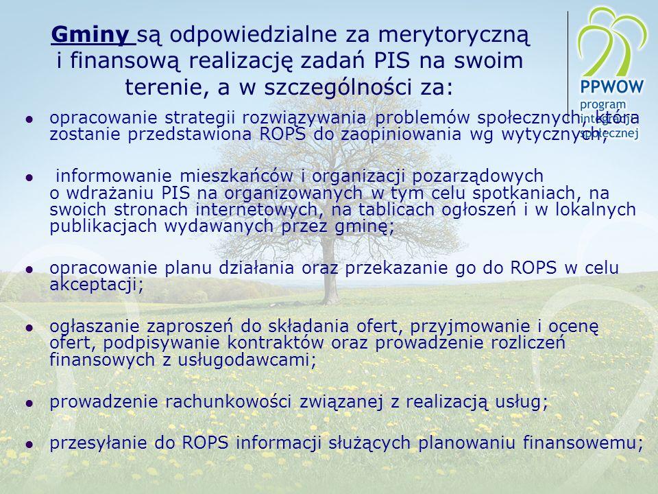 Gminy są odpowiedzialne za merytoryczną i finansową realizację zadań PIS na swoim terenie, a w szczególności za: opracowanie strategii rozwiązywania p