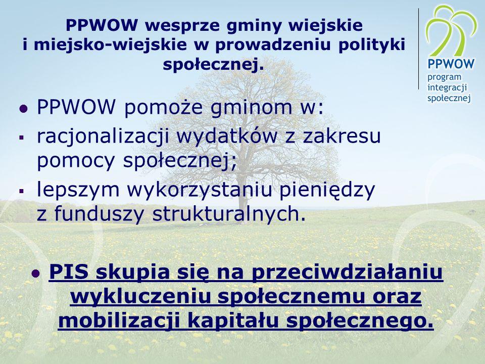 PPWOW wesprze gminy wiejskie i miejsko-wiejskie w prowadzeniu polityki społecznej. PPWOW pomoże gminom w: racjonalizacji wydatków z zakresu pomocy spo