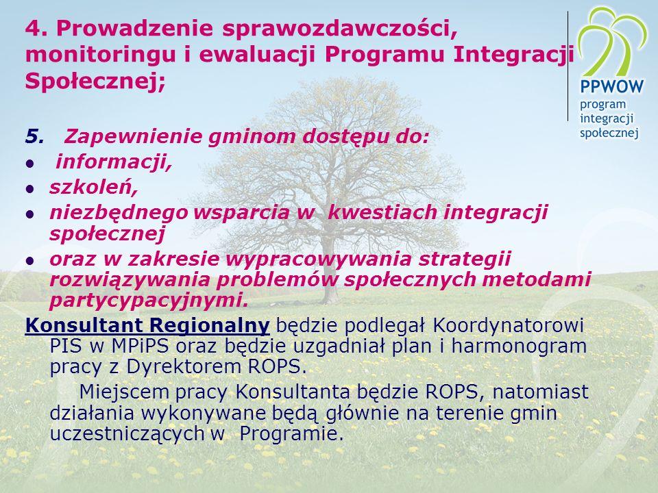 4.Prowadzenie sprawozdawczości, monitoringu i ewaluacji Programu Integracji Społecznej; 5.