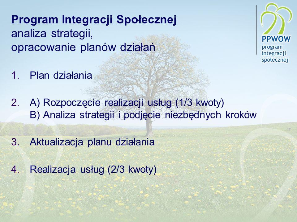 Program Integracji Społecznej analiza strategii, opracowanie planów działań 1.Plan działania 2.A) Rozpoczęcie realizacji usług (1/3 kwoty) B) Analiza strategii i podjęcie niezbędnych kroków 3.Aktualizacja planu działania 4.Realizacja usług (2/3 kwoty)