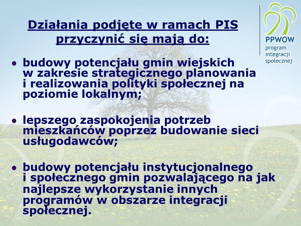 Działania podjęte w ramach PIS przyczynić się mają do: budowy potencjału gmin wiejskich w zakresie strategicznego planowania i realizowania polityki s