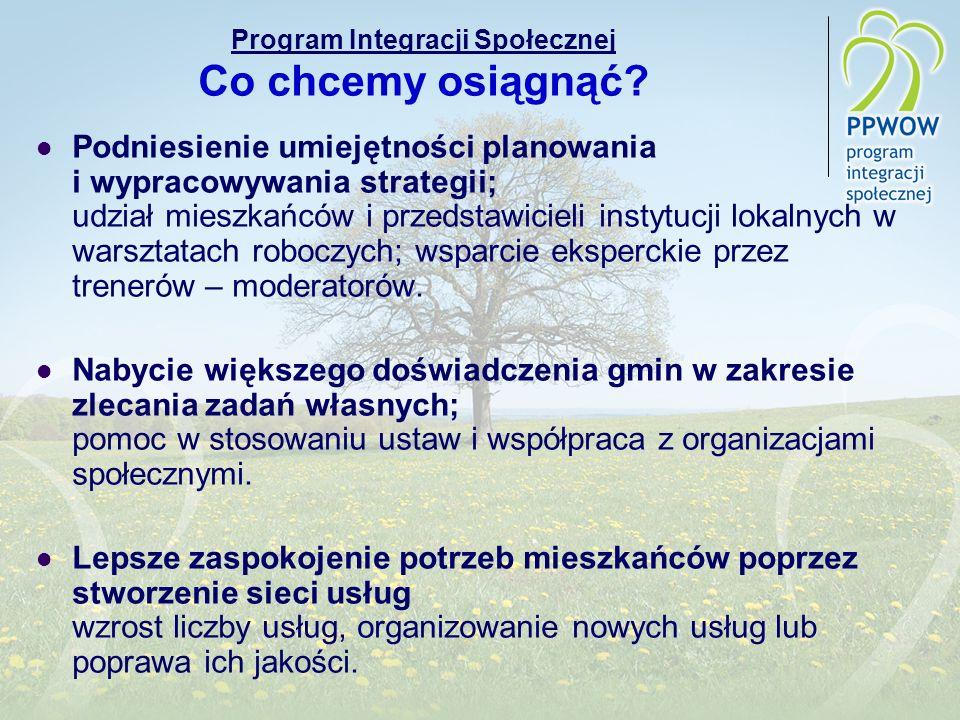 Program Integracji Społecznej Co chcemy osiągnąć? Podniesienie umiejętności planowania i wypracowywania strategii; udział mieszkańców i przedstawiciel