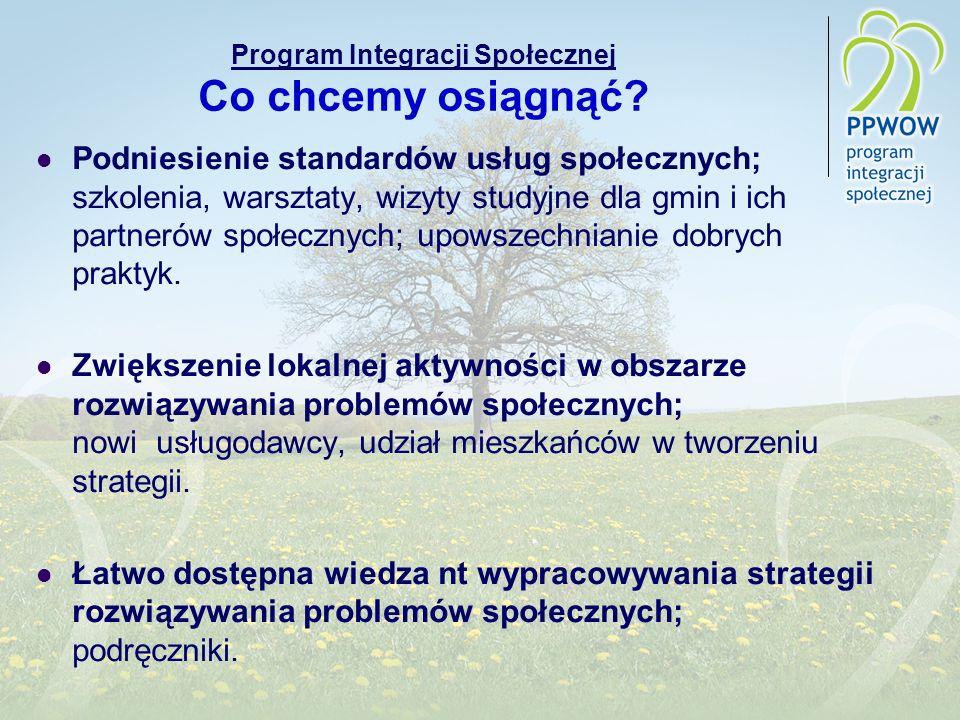 Program Integracji Społecznej Co chcemy osiągnąć? Podniesienie standardów usług społecznych; szkolenia, warsztaty, wizyty studyjne dla gmin i ich part