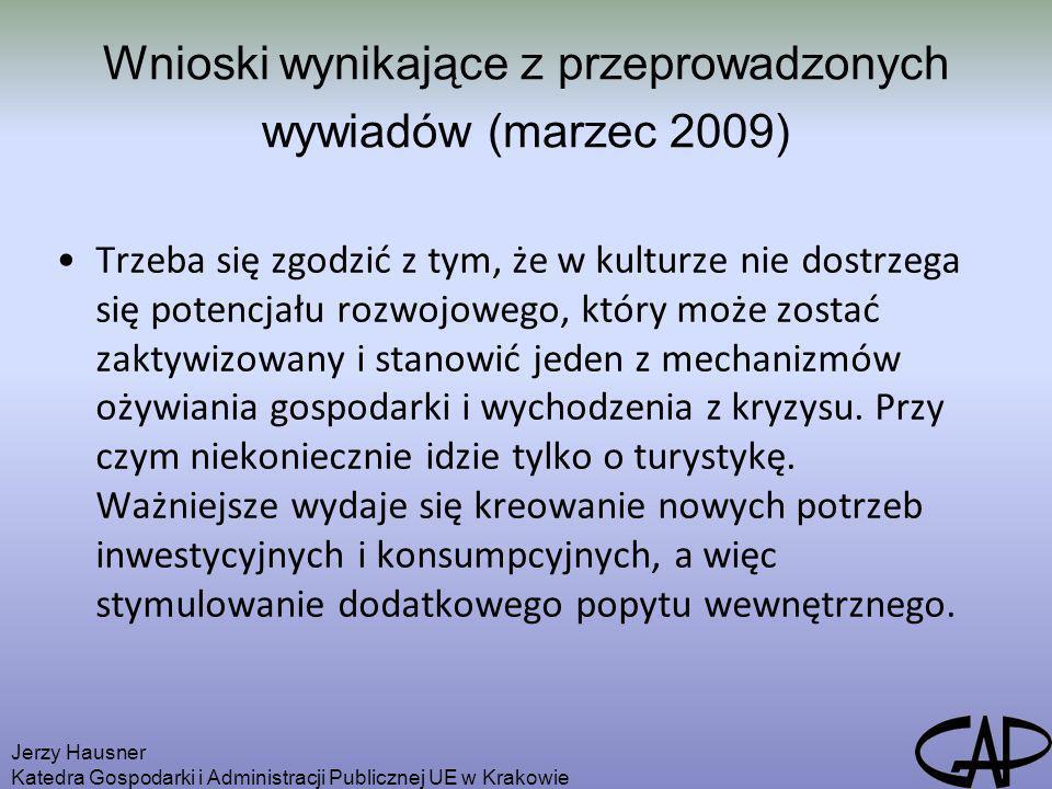 Wnioski wynikające z przeprowadzonych wywiadów (marzec 2009) Trzeba się zgodzić z tym, że w kulturze nie dostrzega się potencjału rozwojowego, który m