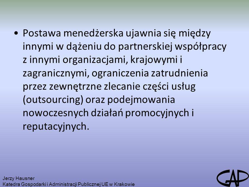 Postawa menedżerska ujawnia się między innymi w dążeniu do partnerskiej współpracy z innymi organizacjami, krajowymi i zagranicznymi, ograniczenia zat