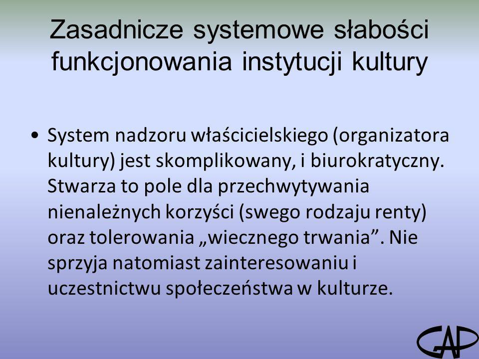 Zasadnicze systemowe słabości funkcjonowania instytucji kultury System nadzoru właścicielskiego (organizatora kultury) jest skomplikowany, i biurokrat