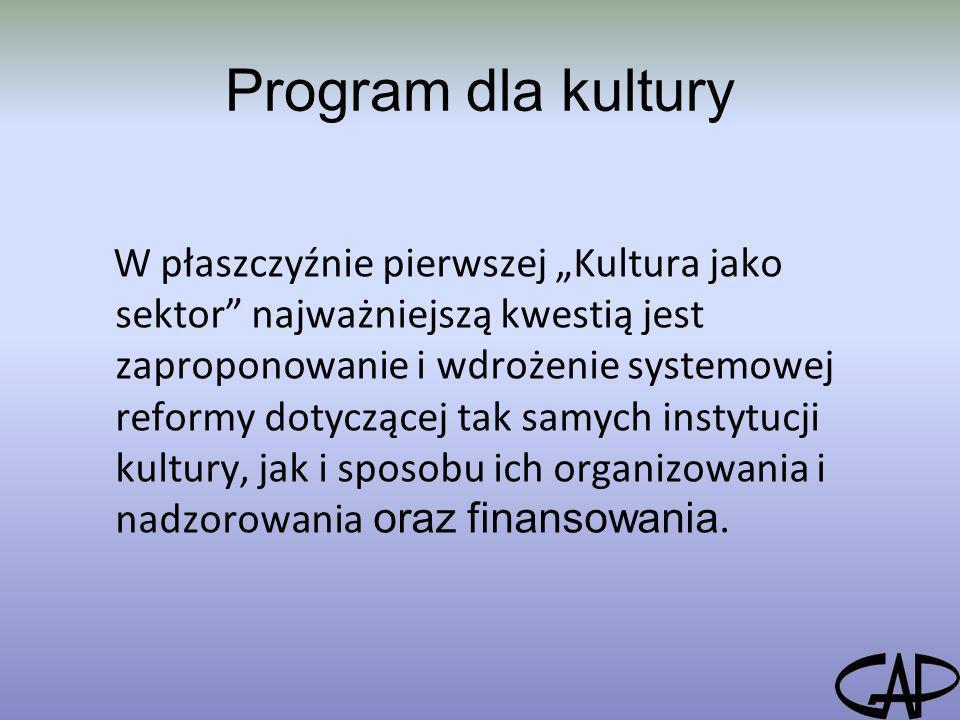 Program dla kultury W płaszczyźnie pierwszej Kultura jako sektor najważniejszą kwestią jest zaproponowanie i wdrożenie systemowej reformy dotyczącej t