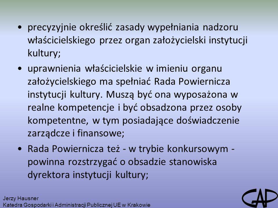 precyzyjnie określić zasady wypełniania nadzoru właścicielskiego przez organ założycielski instytucji kultury; uprawnienia właścicielskie w imieniu or
