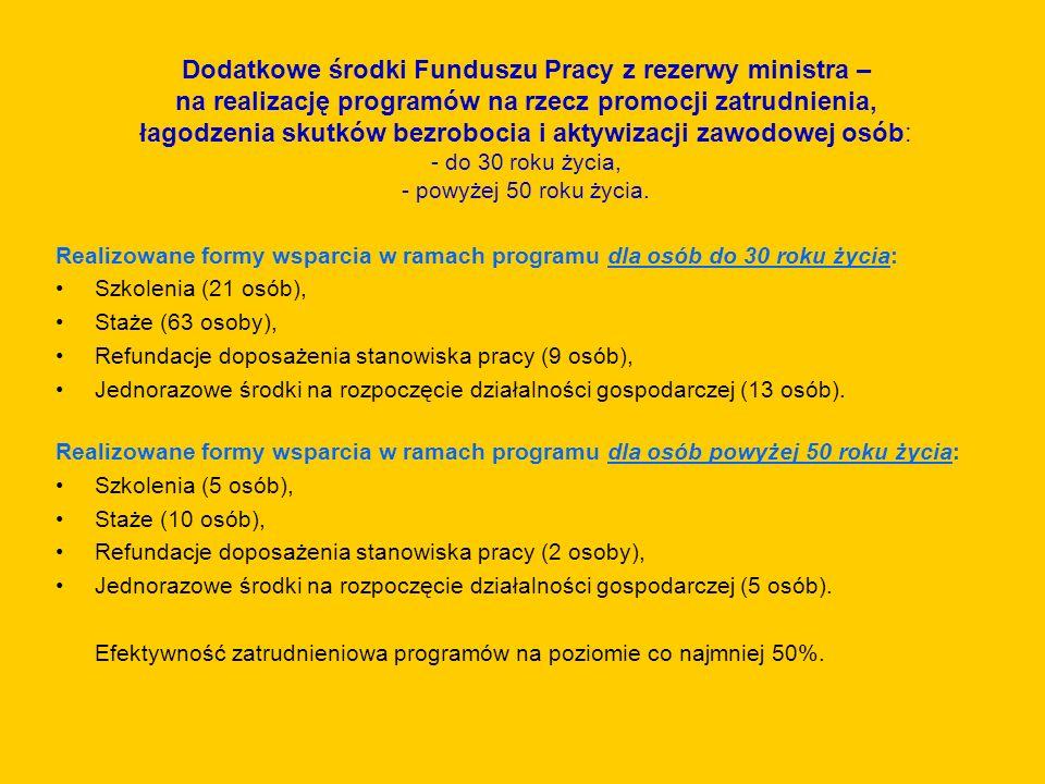 Dodatkowe środki Funduszu Pracy z rezerwy ministra – na realizację programów na rzecz promocji zatrudnienia, łagodzenia skutków bezrobocia i aktywizac