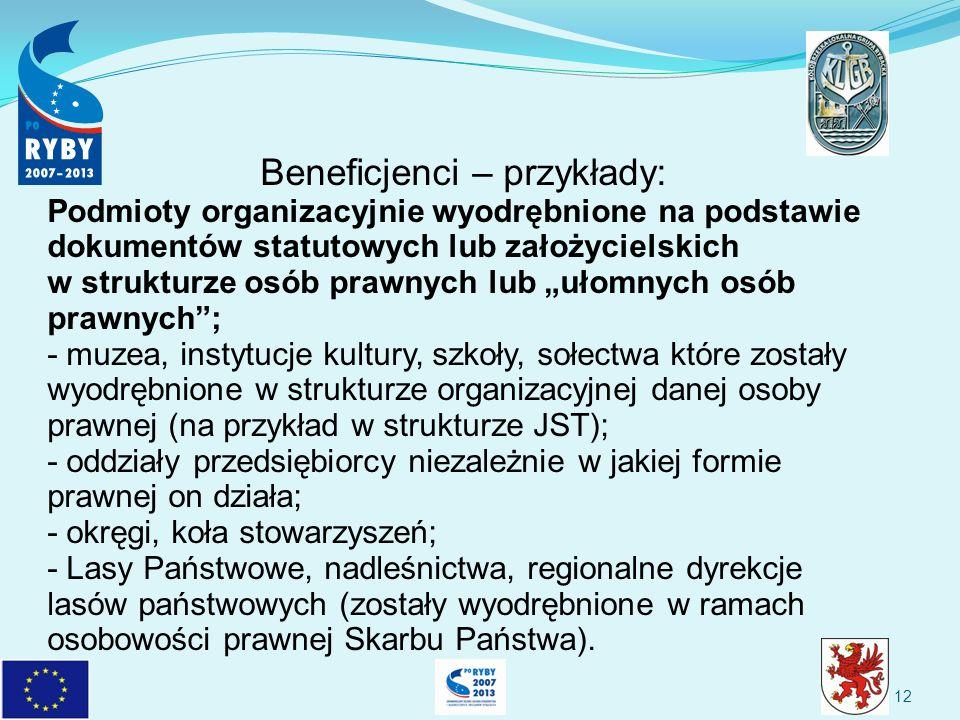 12 Beneficjenci – przykłady: Podmioty organizacyjnie wyodrębnione na podstawie dokumentów statutowych lub założycielskich w strukturze osób prawnych lub ułomnych osób prawnych; - muzea, instytucje kultury, szkoły, sołectwa które zostały wyodrębnione w strukturze organizacyjnej danej osoby prawnej (na przykład w strukturze JST); - oddziały przedsiębiorcy niezależnie w jakiej formie prawnej on działa; - okręgi, koła stowarzyszeń; - Lasy Państwowe, nadleśnictwa, regionalne dyrekcje lasów państwowych (zostały wyodrębnione w ramach osobowości prawnej Skarbu Państwa).