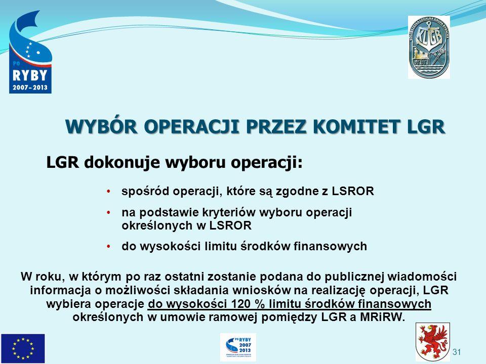 spośród operacji, które są zgodne z LSROR na podstawie kryteriów wyboru operacji określonych w LSROR do wysokości limitu środków finansowych LGR dokonuje wyboru operacji: W roku, w którym po raz ostatni zostanie podana do publicznej wiadomości informacja o możliwości składania wniosków na realizację operacji, LGR wybiera operacje do wysokości 120 % limitu środków finansowych określonych w umowie ramowej pomiędzy LGR a MRiRW.