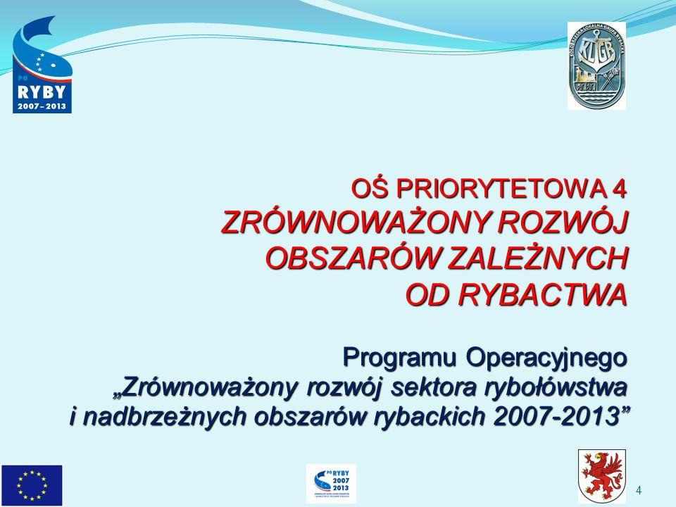 OŚ PRIORYTETOWA 4 ZRÓWNOWAŻONY ROZWÓJ OBSZARÓW ZALEŻNYCH OD RYBACTWA Programu Operacyjnego Zrównoważony rozwój sektora rybołówstwa i nadbrzeżnych obszarów rybackich 2007-2013 4