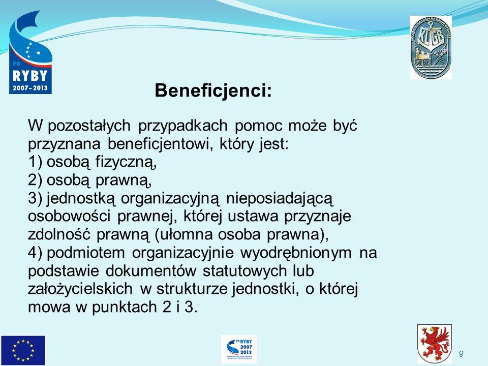 9 Beneficjenci: W pozostałych przypadkach pomoc może być przyznana beneficjentowi, który jest: 1) osobą fizyczną, 2) osobą prawną, 3) jednostką organizacyjną nieposiadającą osobowości prawnej, której ustawa przyznaje zdolność prawną (ułomna osoba prawna), 4) podmiotem organizacyjnie wyodrębnionym na podstawie dokumentów statutowych lub założycielskich w strukturze jednostki, o której mowa w punktach 2 i 3.