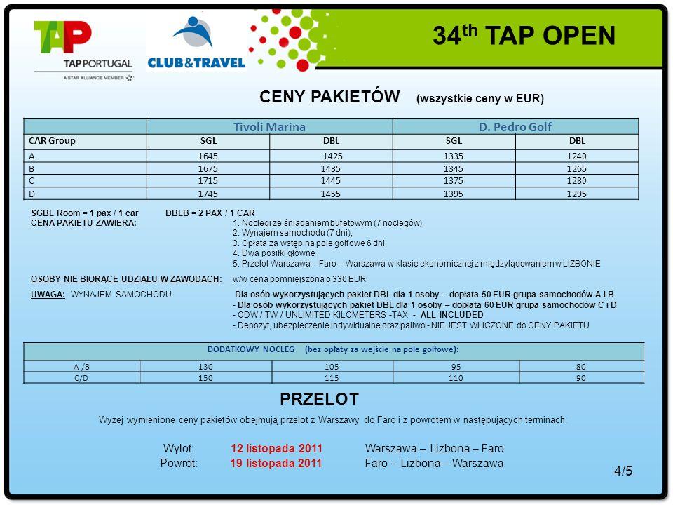 4/5 CENY PAKIETÓW (wszystkie ceny w EUR) Tivoli MarinaD.