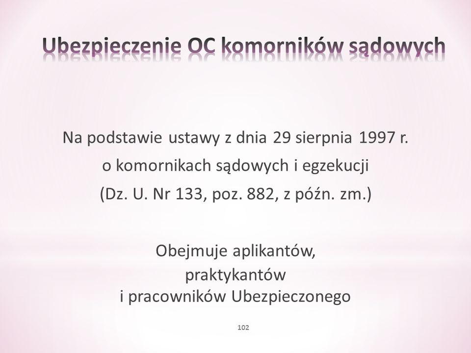 Na podstawie ustawy z dnia 29 sierpnia 1997 r. o komornikach sądowych i egzekucji (Dz. U. Nr 133, poz. 882, z późn. zm.) Obejmuje aplikantów, praktyka