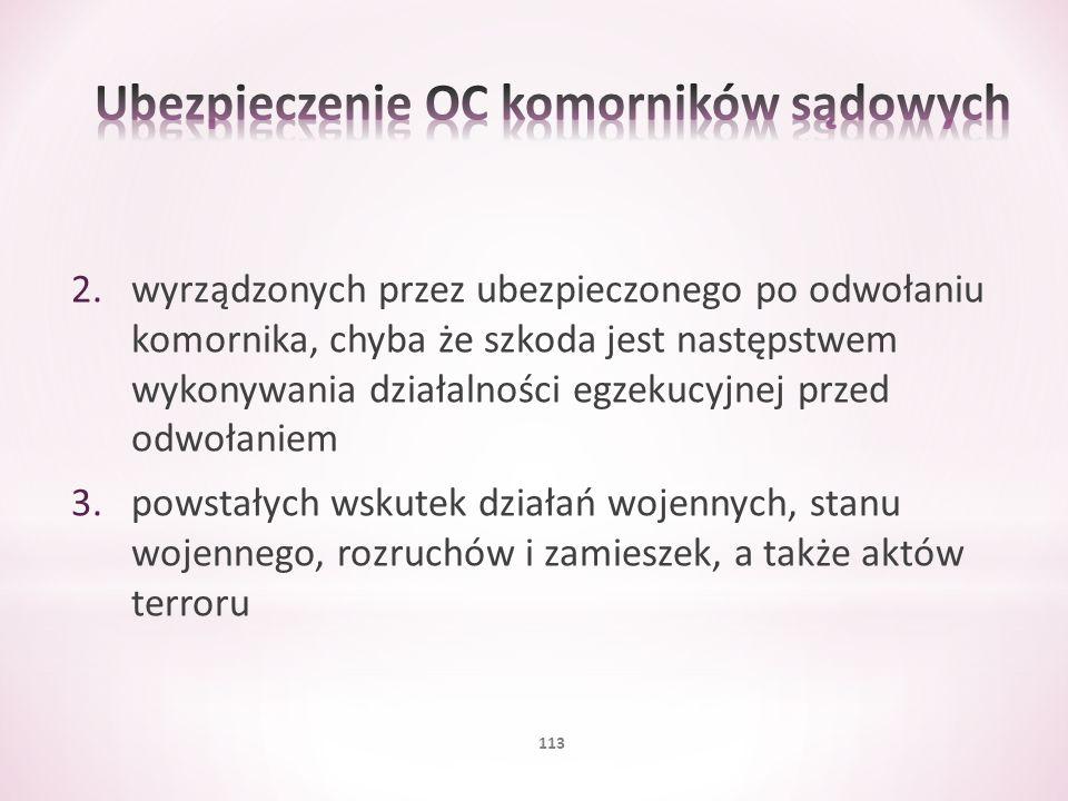 2.wyrządzonych przez ubezpieczonego po odwołaniu komornika, chyba że szkoda jest następstwem wykonywania działalności egzekucyjnej przed odwołaniem 3.