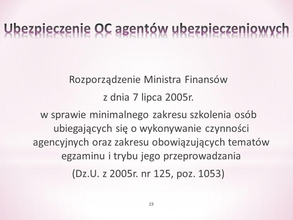 Rozporządzenie Ministra Finansów z dnia 7 lipca 2005r. w sprawie minimalnego zakresu szkolenia osób ubiegających się o wykonywanie czynności agencyjny