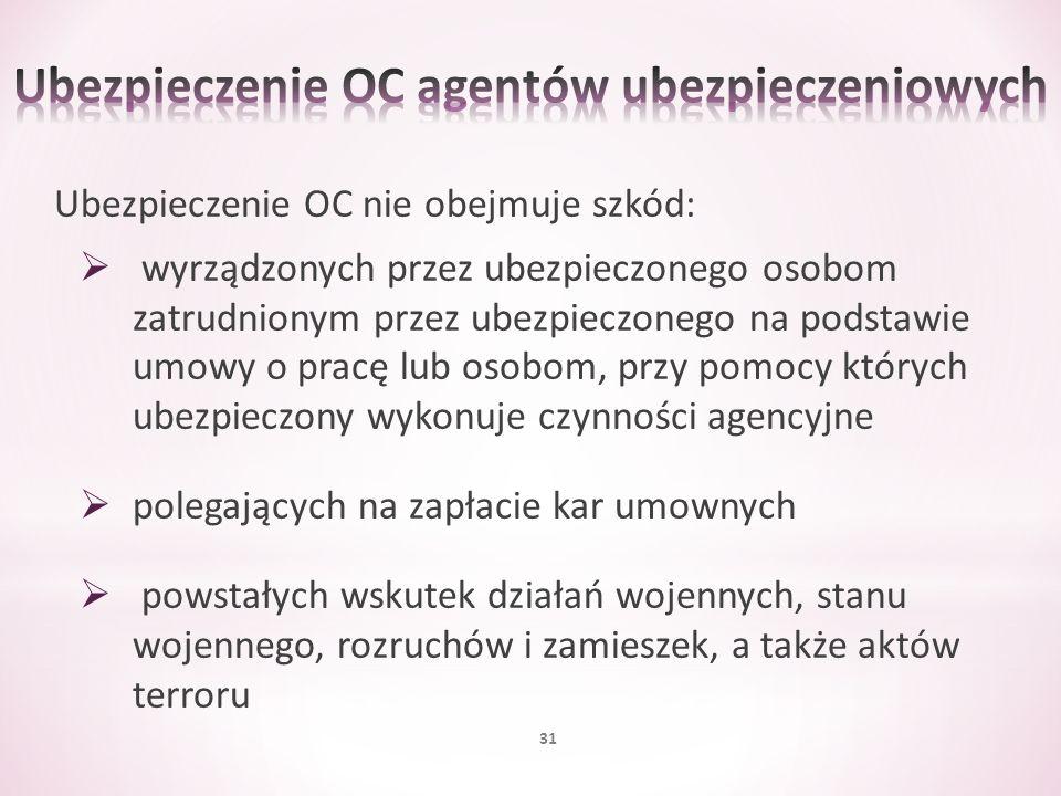 Ubezpieczenie OC nie obejmuje szkód: wyrządzonych przez ubezpieczonego osobom zatrudnionym przez ubezpieczonego na podstawie umowy o pracę lub osobom,