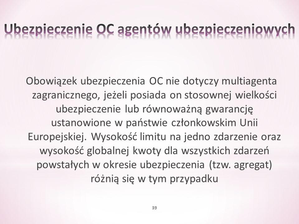 Obowiązek ubezpieczenia OC nie dotyczy multiagenta zagranicznego, jeżeli posiada on stosownej wielkości ubezpieczenie lub równoważną gwarancję ustanow