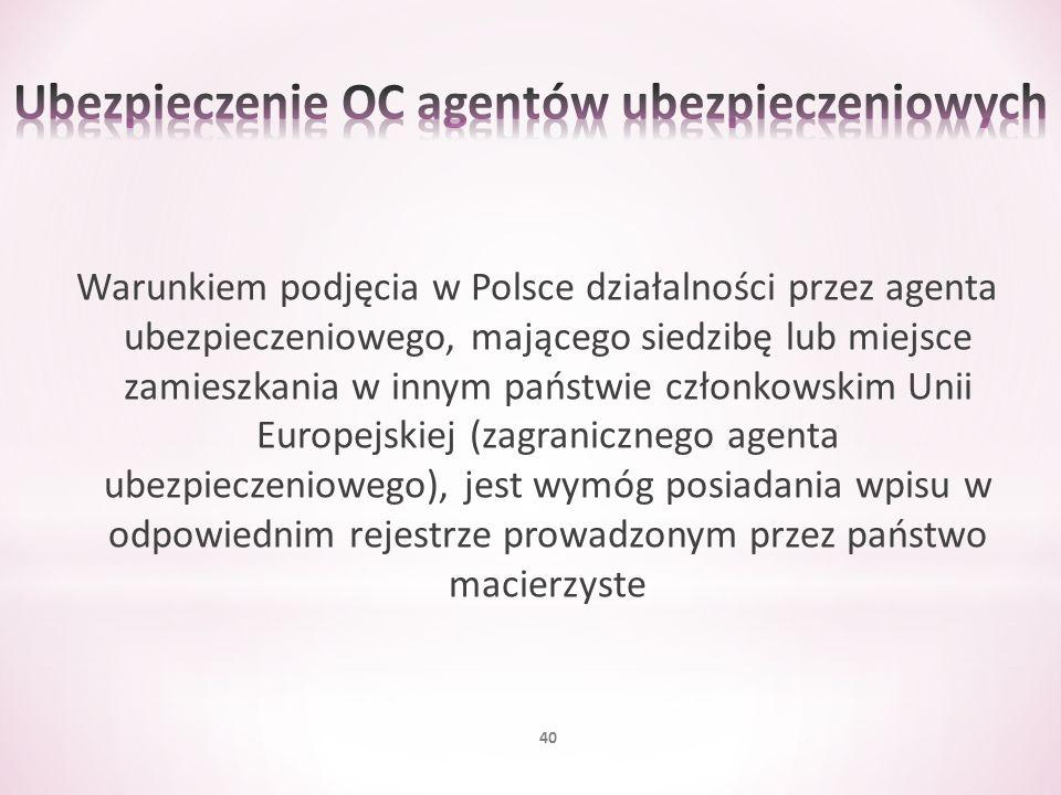 Warunkiem podjęcia w Polsce działalności przez agenta ubezpieczeniowego, mającego siedzibę lub miejsce zamieszkania w innym państwie członkowskim Unii