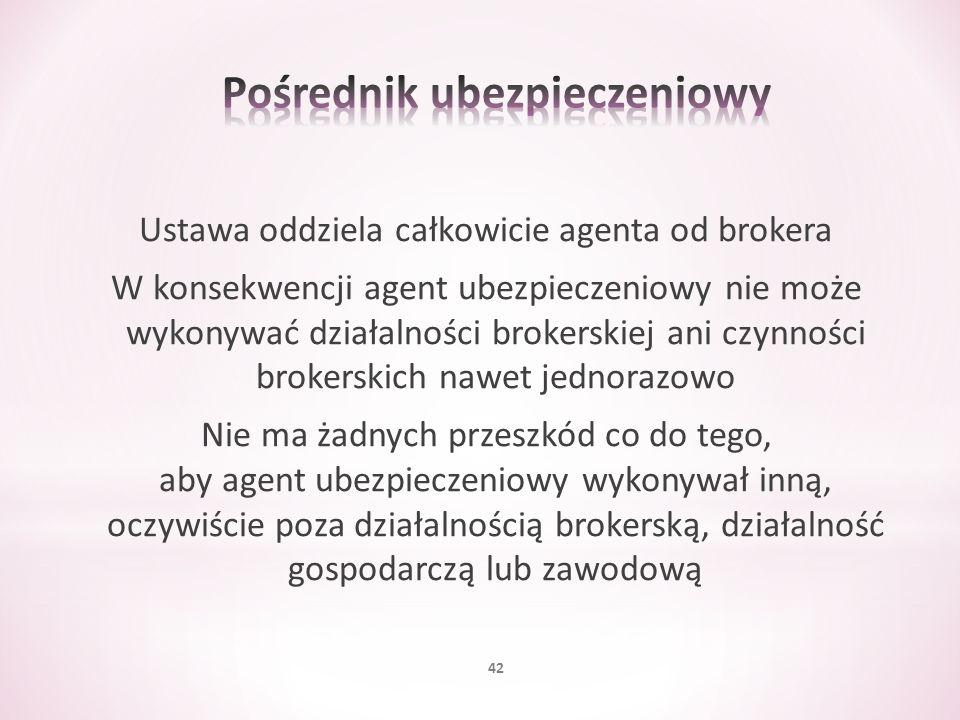 Ustawa oddziela całkowicie agenta od brokera W konsekwencji agent ubezpieczeniowy nie może wykonywać działalności brokerskiej ani czynności brokerskic