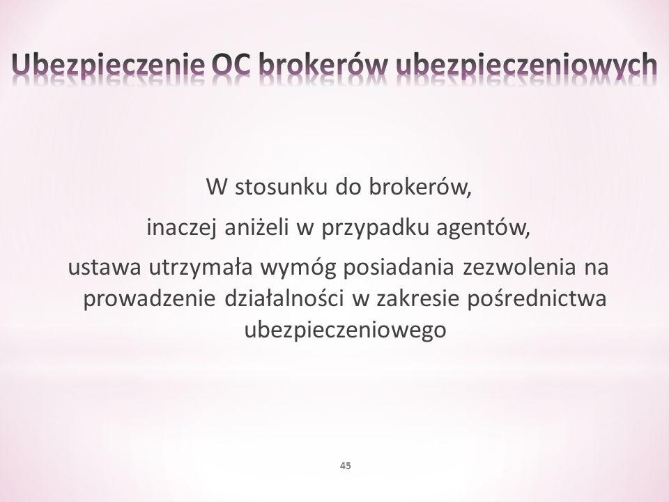 W stosunku do brokerów, inaczej aniżeli w przypadku agentów, ustawa utrzymała wymóg posiadania zezwolenia na prowadzenie działalności w zakresie pośre