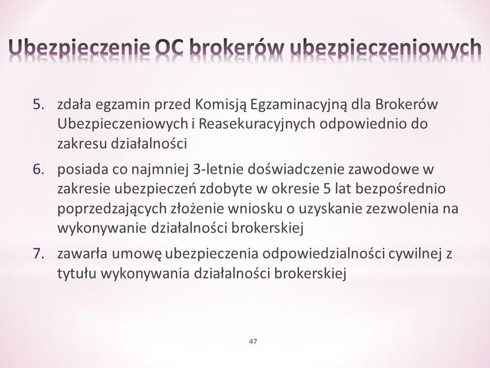 5.zdała egzamin przed Komisją Egzaminacyjną dla Brokerów Ubezpieczeniowych i Reasekuracyjnych odpowiednio do zakresu działalności 6.posiada co najmnie