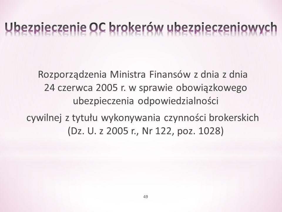 Rozporządzenia Ministra Finansów z dnia z dnia 24 czerwca 2005 r. w sprawie obowiązkowego ubezpieczenia odpowiedzialności cywilnej z tytułu wykonywani