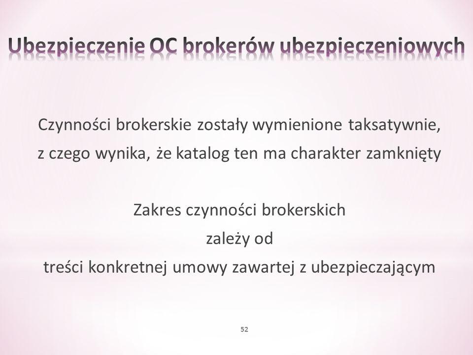 Czynności brokerskie zostały wymienione taksatywnie, z czego wynika, że katalog ten ma charakter zamknięty Zakres czynności brokerskich zależy od treś