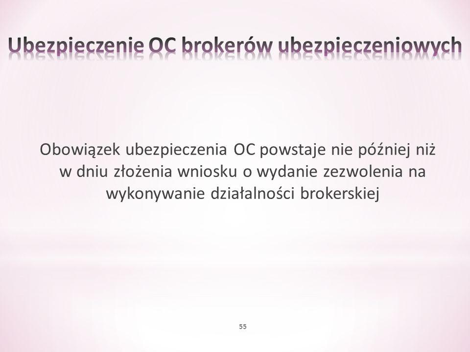 Obowiązek ubezpieczenia OC powstaje nie później niż w dniu złożenia wniosku o wydanie zezwolenia na wykonywanie działalności brokerskiej 55