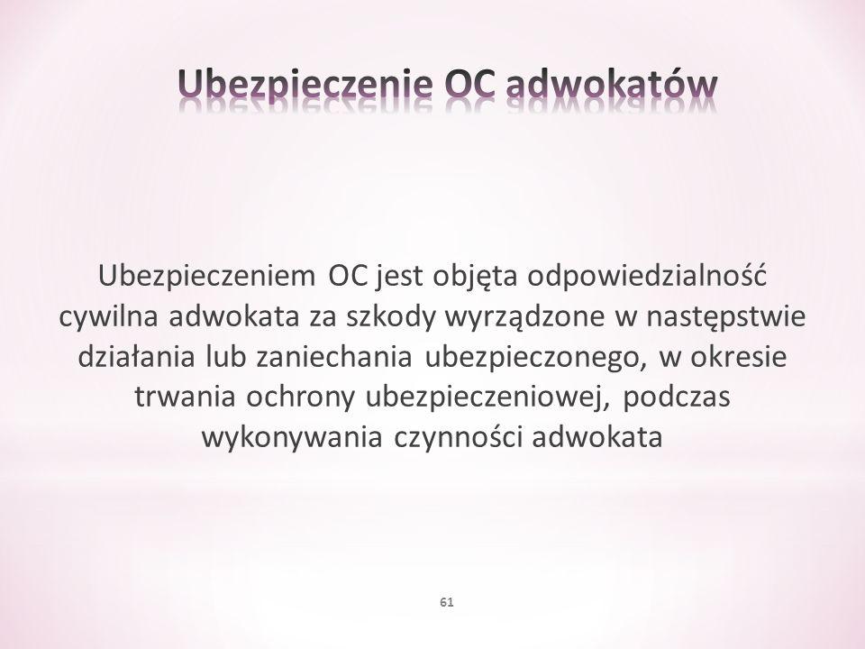 Ubezpieczeniem OC jest objęta odpowiedzialność cywilna adwokata za szkody wyrządzone w następstwie działania lub zaniechania ubezpieczonego, w okresie