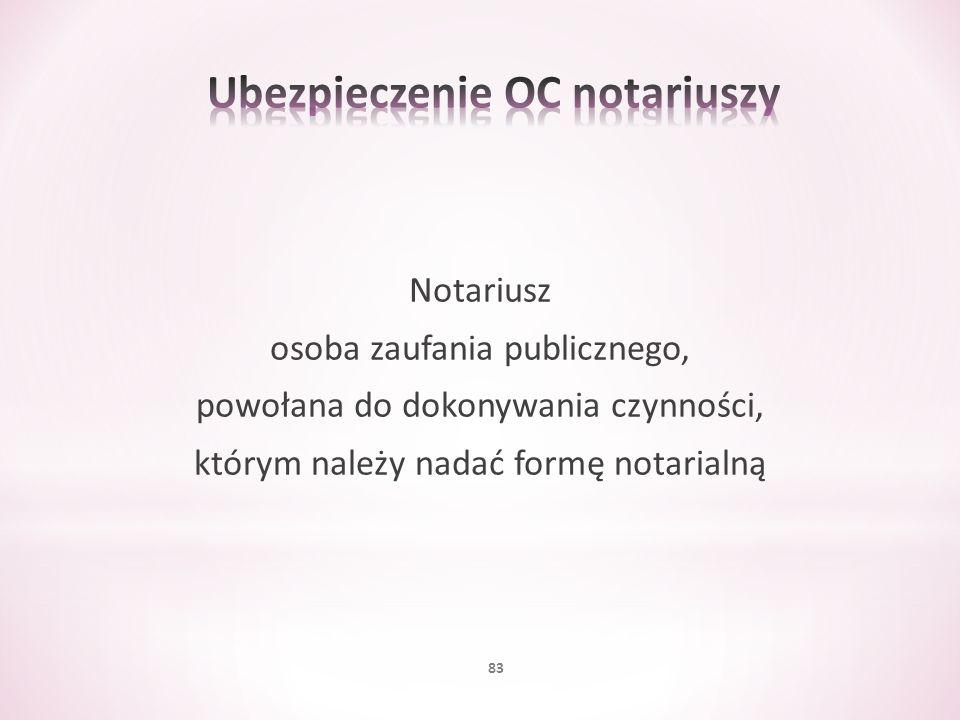 Notariusz osoba zaufania publicznego, powołana do dokonywania czynności, którym należy nadać formę notarialną 83