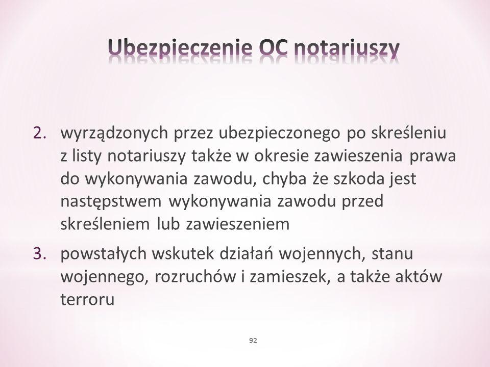 2.wyrządzonych przez ubezpieczonego po skreśleniu z listy notariuszy także w okresie zawieszenia prawa do wykonywania zawodu, chyba że szkoda jest nas