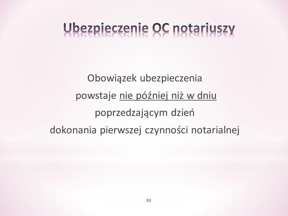 Obowiązek ubezpieczenia powstaje nie później niż w dniu poprzedzającym dzień dokonania pierwszej czynności notarialnej 93