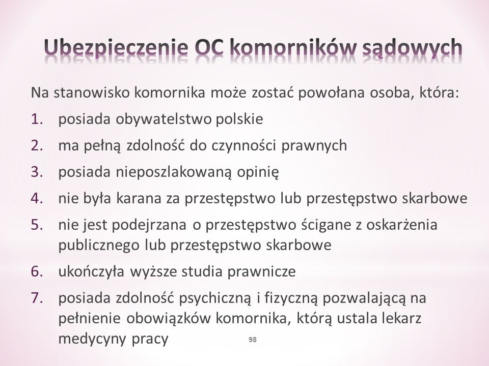 Na stanowisko komornika może zostać powołana osoba, która: 1.posiada obywatelstwo polskie 2.ma pełną zdolność do czynności prawnych 3.posiada nieposzl