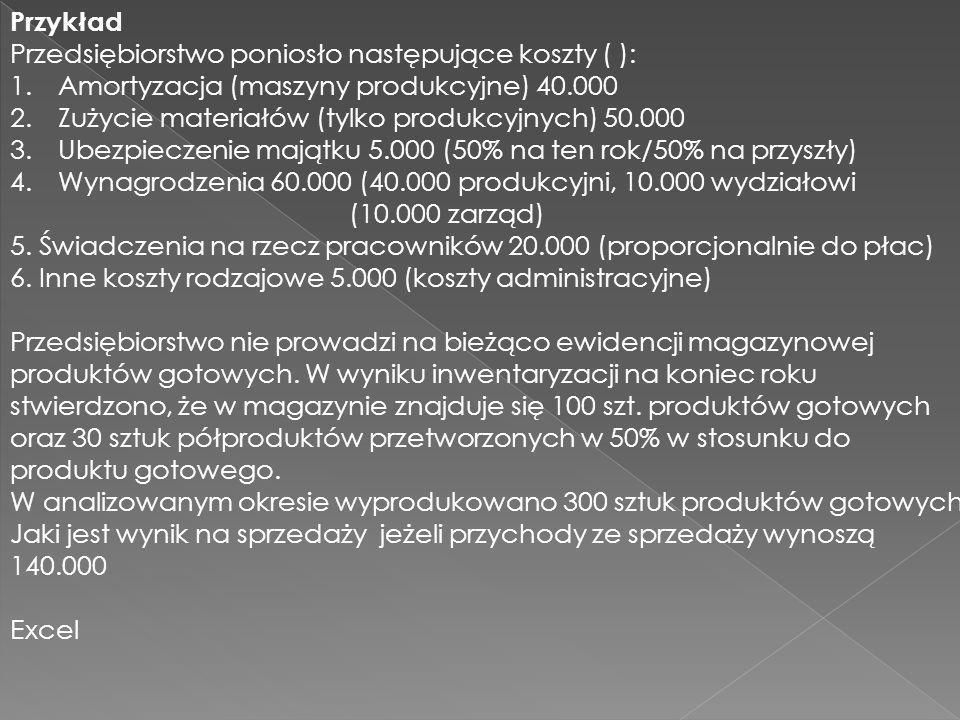 Przykład Przedsiębiorstwo poniosło następujące koszty ( ): 1.Amortyzacja (maszyny produkcyjne) 40.000 2.Zużycie materiałów (tylko produkcyjnych) 50.00