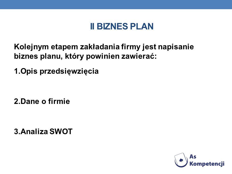 II BIZNES PLAN Kolejnym etapem zakładania firmy jest napisanie biznes planu, który powinien zawierać: 1.Opis przedsięwzięcia 2.Dane o firmie 3.Analiza