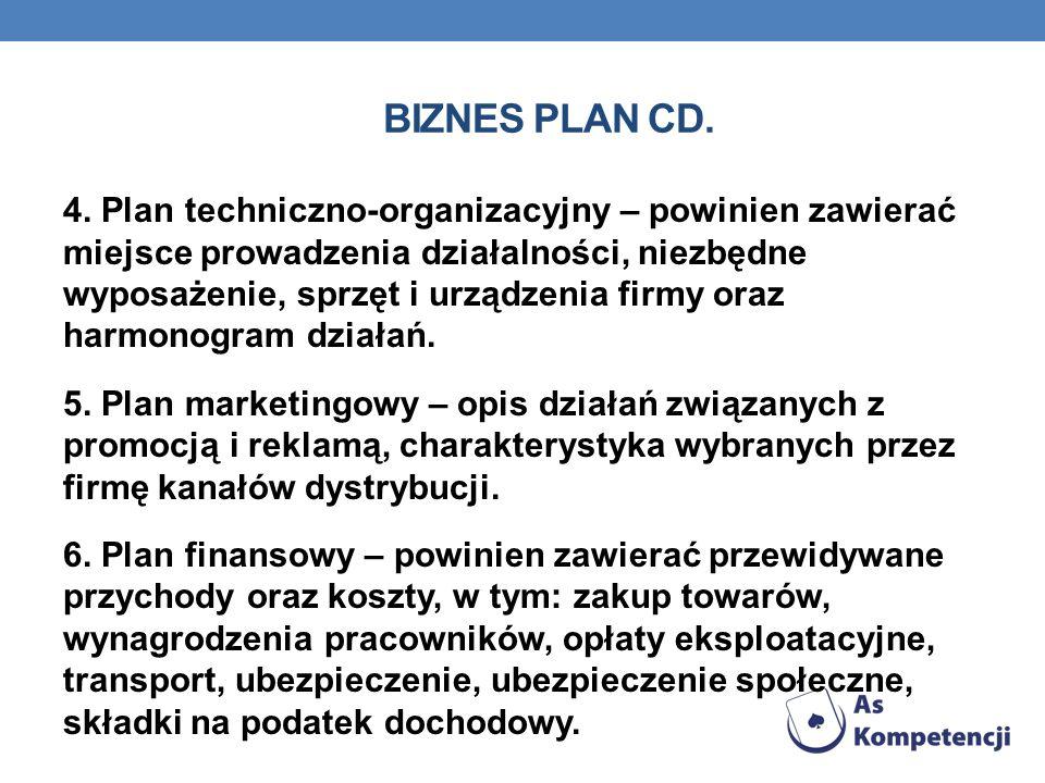 BIZNES PLAN CD. 4. Plan techniczno-organizacyjny – powinien zawierać miejsce prowadzenia działalności, niezbędne wyposażenie, sprzęt i urządzenia firm