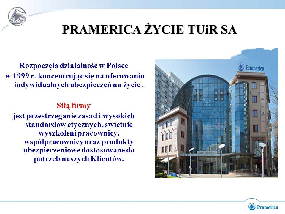 PRAMERICA ŻYCIE TUiR SA Rozpoczęła działalność w Polsce w 1999 r.
