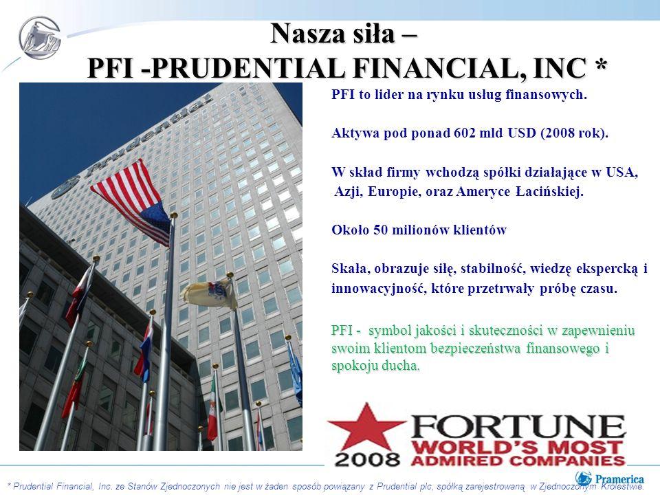 Nasza siła – PFI -PRUDENTIAL FINANCIAL, INC * PFI to lider na rynku usług finansowych.