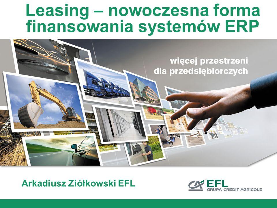 Leasing a środki unijne Potwierdzeniem gwarancji finansowania projektu jest promesa leasingowa EFL (ważna do 9 miesięcy), upoważniająca EFL do ponoszenia wydatków kwalifikowanych w imieniu Beneficjenta Promesa wydawana jest na podstawie standardowej procedury oceny zdolności kredytowej Beneficjenta Promesa stanowi gwarancję finansowania projektu niezależnie od uzyskania dofinansowania unijnego, jeżeli nie ulegnie zmianie sytuacja finansowa Beneficjenta oraz pozostałe warunki zawarte w promesie MRR w POIG umożliwiło na jednorazowe rozliczenie części projektu finansowanej leasingiem na podstawie FV zakupowej wystawionej na Leasingodawcę oraz protokołu odbioru (wytyczna MRR nr 1/04/2010)