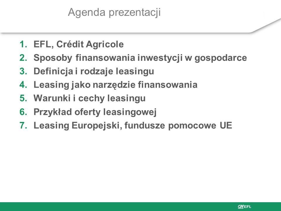 Agenda prezentacji 1.EFL, Crédit Agricole 2.Sposoby finansowania inwestycji w gospodarce 3.Definicja i rodzaje leasingu 4.Leasing jako narzędzie finansowania 5.Warunki i cechy leasingu 6.Przykład oferty leasingowej 7.Leasing Europejski, fundusze pomocowe UE