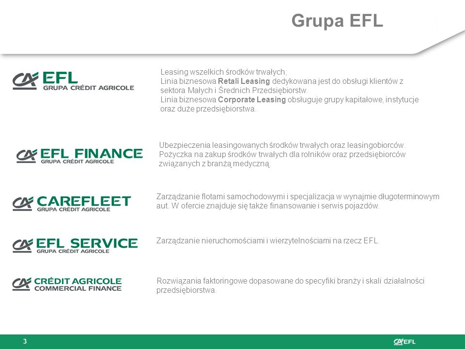 Agenda prezentacji 1.EFL, Crédit Agricole 2.Sposoby finansowania inwestycji w gospodarce 3.Definicja i rodzaje leasingu 4.Leasing jako narzędzie finan