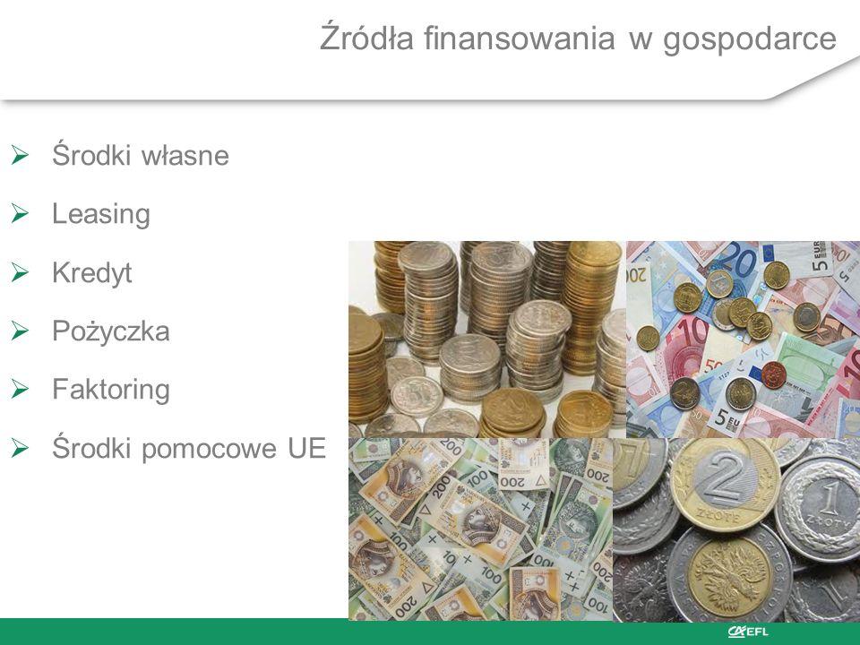 Źródła finansowania w gospodarce Środki własne Leasing Kredyt Pożyczka Faktoring Środki pomocowe UE