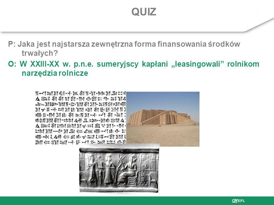 QUIZ P: Jaka jest najstarsza zewnętrzna forma finansowania środków trwałych.